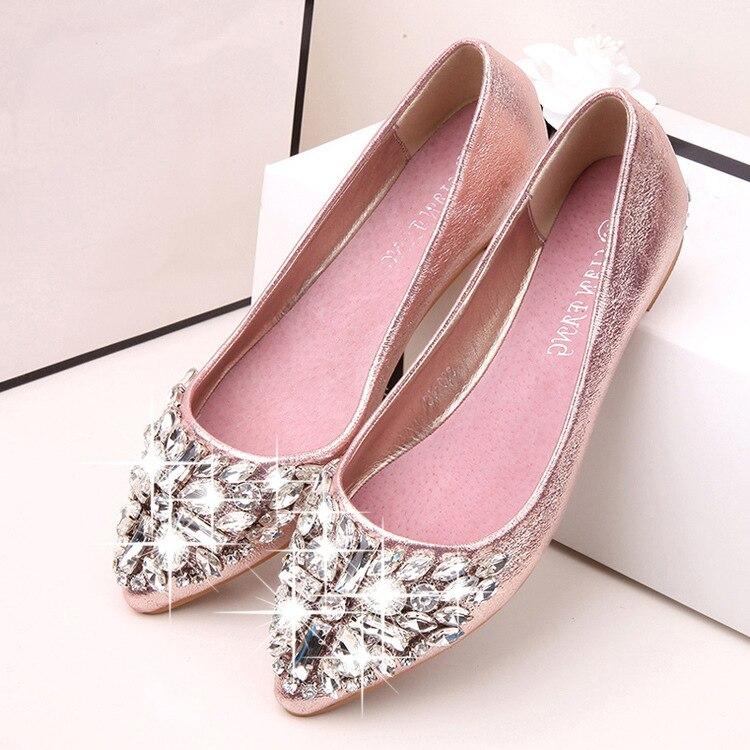 1c1da43bf9e6f 2016 Spring New Women Silver Gold Rhinestone Cap Toe Embellishment Flat  Metallic Shoes Flats-in Women s Flats from Shoes on Aliexpress.com