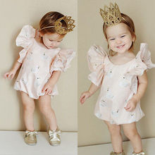 Newborn kids Ruffles Swan Romper clothes Infant Baby Boy Girl sleeveless Romper Jumpsuit Clothes Outfit