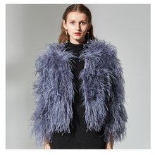 6682cfcd38a Ostrich Feather real Fur short coat For Lady Top Quality Female Outwear Fluffy  Feather Ostrich Fur