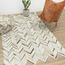 牛革ブロック敷物ジオメトリリビングルームソファティーテーブル敷物寝室手縫い牛革カーペット