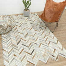 Cow leather block rug geometry living room sofa tea table bedroom hand-stitched cowhide carpet