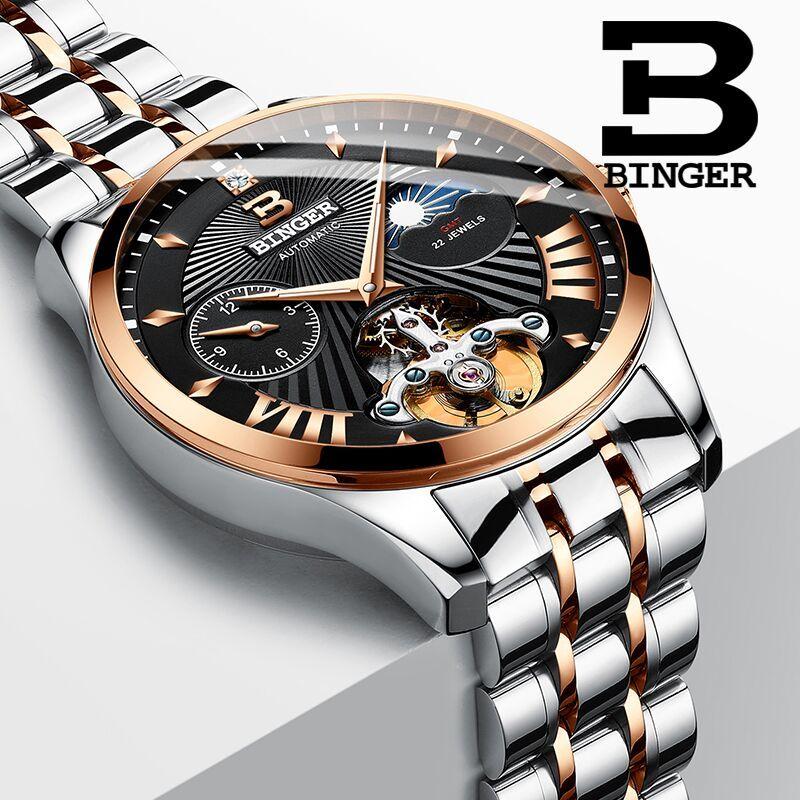 Switzerland Watch Men Binger Automatic Mechanical Men Watches Luxury Brand Sapphire GMT Men Wrist Watch Waterproof B-1186-13 худи b men b men bm001emaqba5