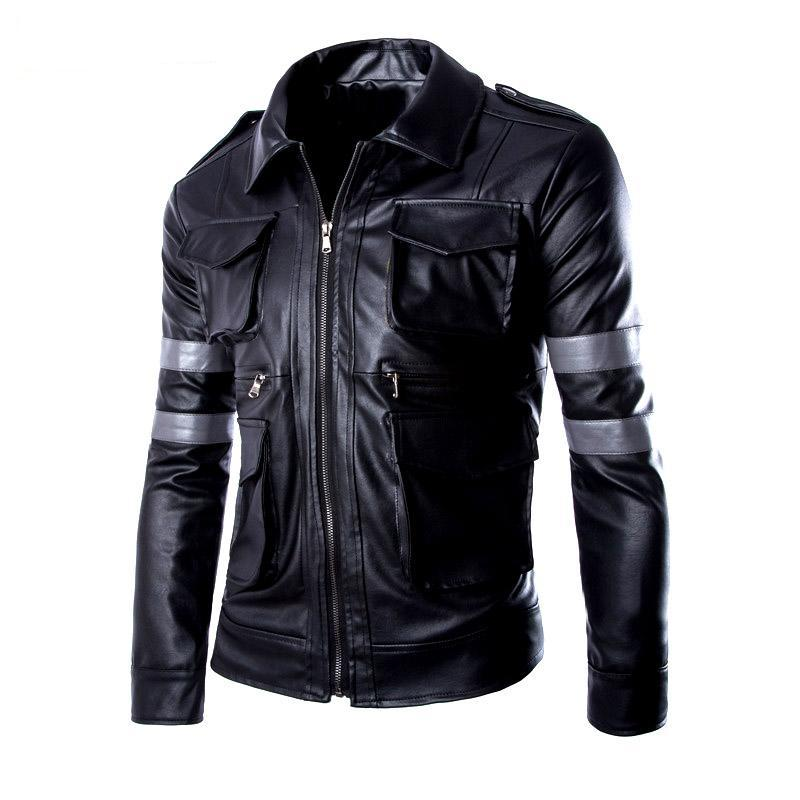 Resident Evil leon motorcycle jacket turn-down collar leather clothing male mens motorcycle leather jacket outerwear