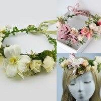 Летняя Свадебная Цветочная Корона повязка на голову Дети Венок для вечеринок цветочные гирлянды с лентой Регулируемый Цветок Корона Роза для женщин