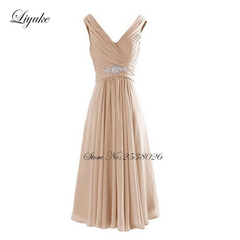 Liyuke Chiffon V-Neckline Knee-length   Bridesmaid     Dresses   Formal   Dress   Ruched Pleats Sleeveless Elegant A-Line Short   Dress
