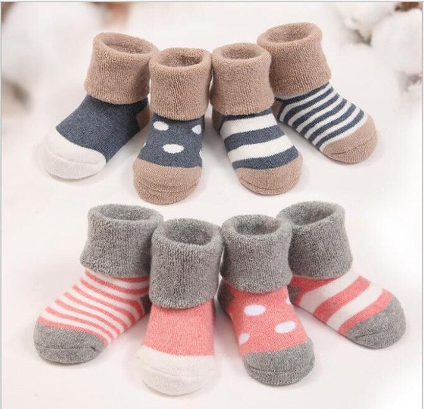 Baby Socken Für Winter 4 Paare/los Dicke Warme Baumwolle Neugeborenen Baby Mädchen Jungen Socken Babykleidung Mädchen Socken