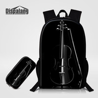 Dispalang Unique Black Violin Print School Bags 2 PCS/ Set Backpacks Pencil Case For Girls Boys Women Casual Shoulder Bag Rugzak
