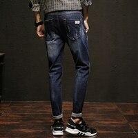 Fashion Men S Blue Straight Slim Casual Jeans Pants Male Burst Models Jeans Long Trousers