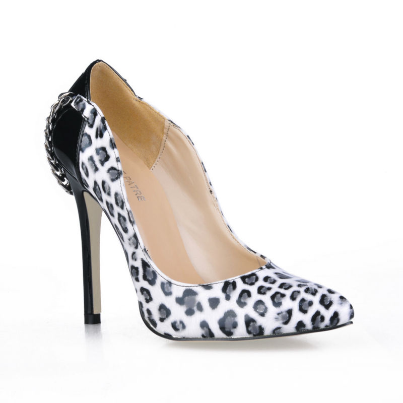 2016 New White Leopard Sexy Party Shoes Women Pointed Toe Stiletto High Heels Chain Ladies Pumps Zapatos Mujer Plus Size 0640-d2 new 2017 spring summer women shoes pointed toe high quality brand fashion womens flats ladies plus size 41 sweet flock t179