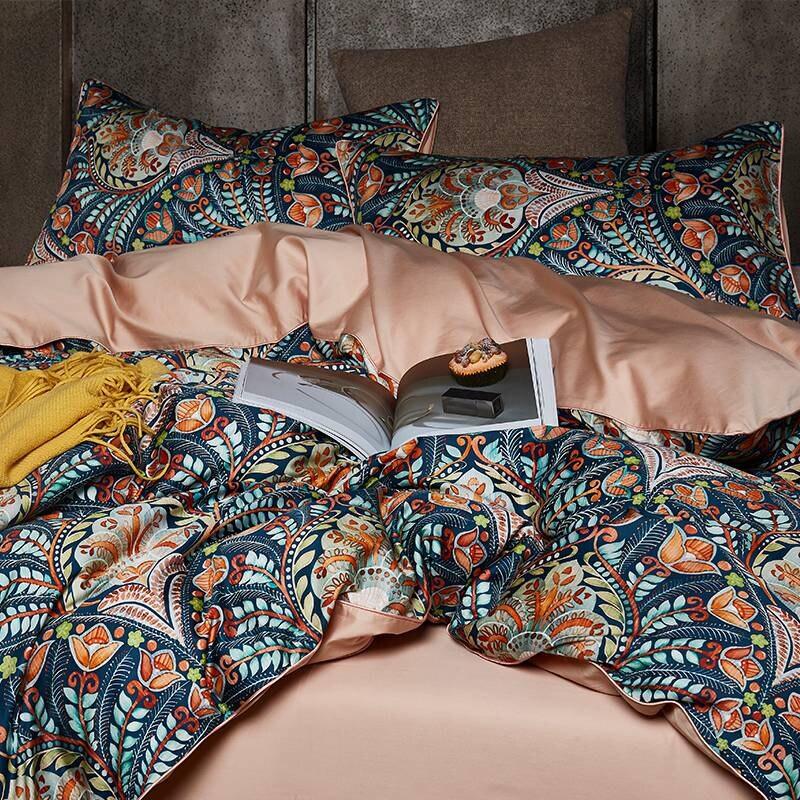 Ensemble de literie bohème inde luxe coton égyptien Satin reine taille literie maison textile pastorale ensembles de linge de lit