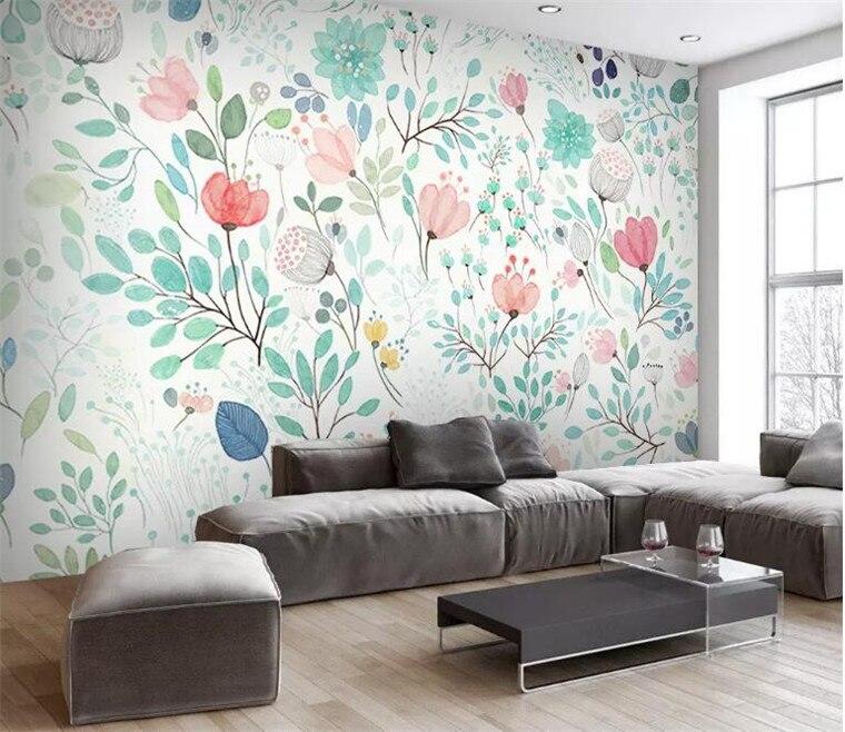 Aquarela 3D Floral Papel De Parede Mural Fresco Pequenas Flores Murais De Parede Decalques Da Parede Rolos de Papel de Parede Do Berçário Sala de estar Wallpapers