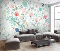 Aquarelle 3D Floral papier peint Mural frais petites fleurs peintures murales stickers muraux papier peint rouleaux pépinière salon fonds d'écran