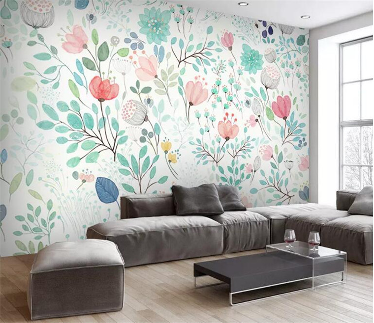 Watercolor 3D Floral Wallpaper Mural Fresh Small Flowers Wall Murals Wall Decals Wall Paper Rolls Nursery Living Room Wallpapers image