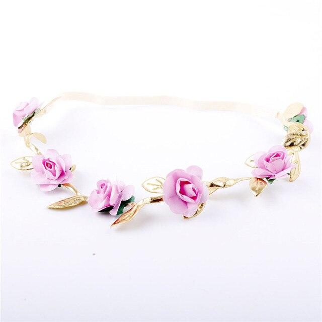 Neugeborenen Baby Floral Crown Stirnband Girlande Baby Mädchen Kid Roman Girlanden Gold Blätter Haar Band Kranz Rose Blume Kranz Headwear