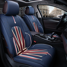 2017 Car styling cover pu Leather Flag pattern Car Seat Covers Front & Rear Complete Set for Four Season Universal 5 Seat Cars