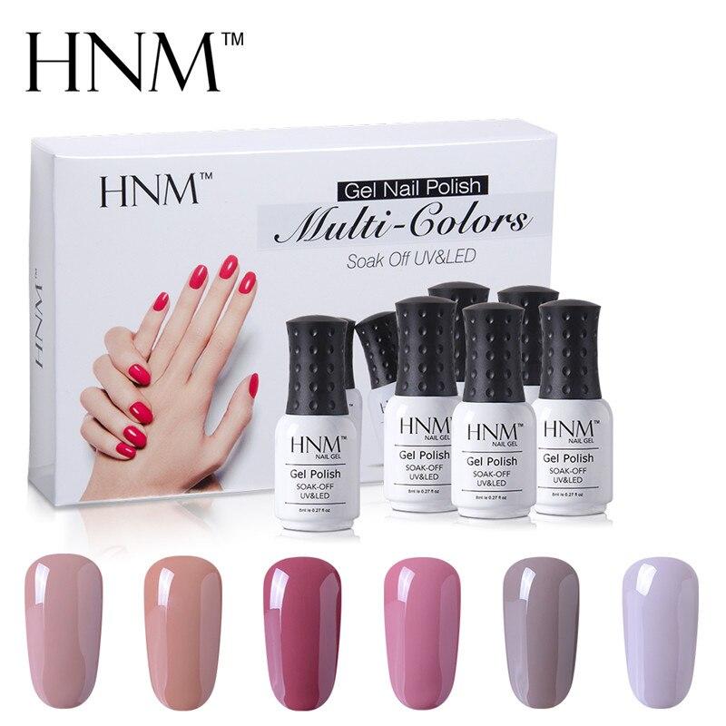 HNM 6pcs/Set 8ml Nude Color UV Gel Polish Semi Permanent Lucky Varnish Gift Box Manicure DIY Lacquer For Nail Kit Tool