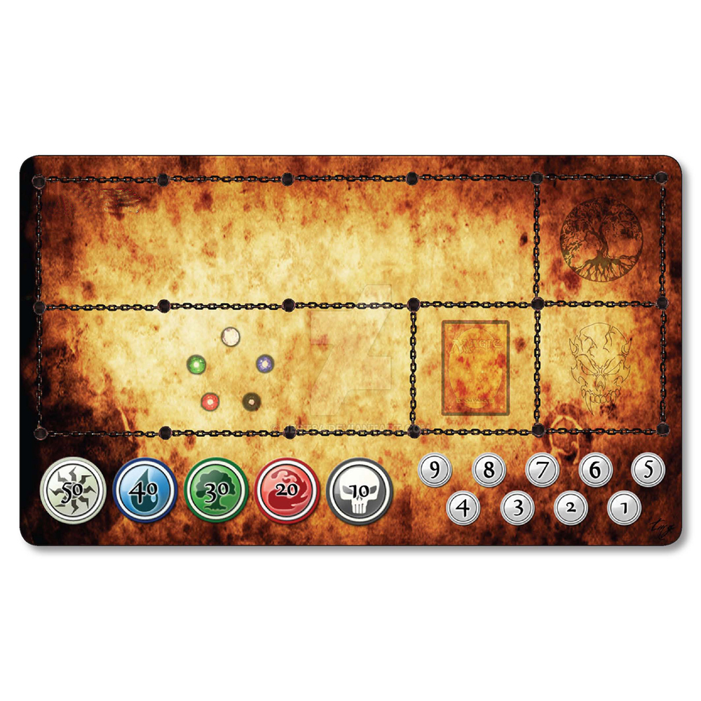 (Magic Power Symbols) Board Games Playmat, MGT Cards Table Play Mat, Proxy Cards Mousepad Natural Rubber Playmat with Free Bag