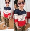 Size90 ~ 150 criança de algodão tops t crianças camisetas para meninos de manga comprida t camisas letras