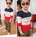 cotton size90~150 child tops tees children t-shirts for boys long sleeve t shirts letters
