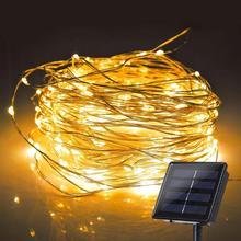 Honche 2 шт. 10 м 20 м 100/200 светодиодный s Солнечный СВЕТОДИОДНЫЙ светильник-гирлянда водонепроницаемый медный провод лампа для наружного сада праздника вечеринки украшения