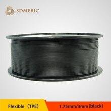 Comercio al por mayor Negro Color Flexible TPE Goma Filamentos Impresora 3D Filamento 1.75mm 3.0mm TPE Flexible Filamento 1 kg/carrete