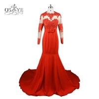 New Arabic Red Long Mermaid Evening Dresses 2017 Full Sleeve Trumpet Vestidos De Baile Satin Lace Prom Dress Robe de Soiree