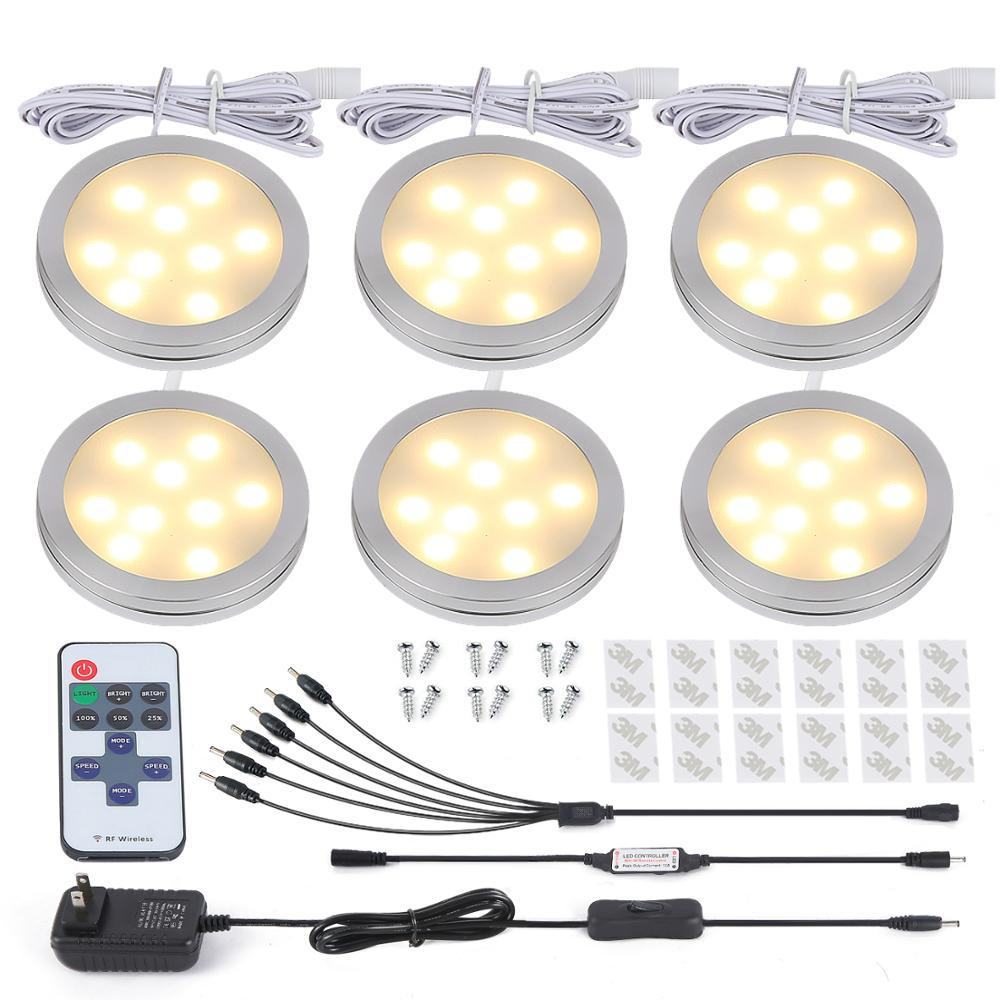 HuaXinV 12W LED Puck Lights Under Cabinet Lighting Plug In Kit, 3000K, Warm White, Accessories Included, Kitchen, Closet Lights