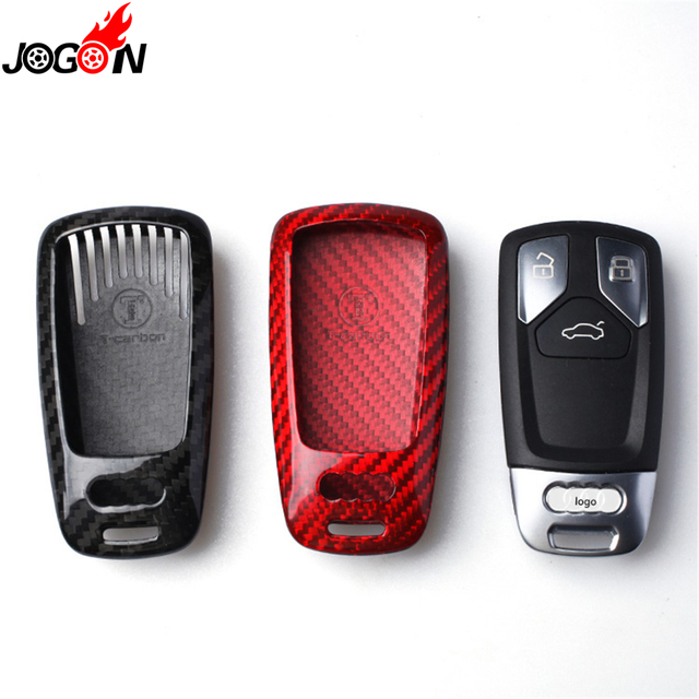 68cf9f721a86a5 Carbon Fiber Protector Remote Key Fob Case Shell Cover For Audi A4 A5 S4 S5  B9