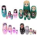 5 pçs/set Bonecas Do Assentamento de Matryoshka Da Boneca do Russo De Madeira Meninas/Esmalte Palhaço Brinquedos Casa Decoração Feitos À Mão Artesanato Presentes Dos Miúdos Hoga