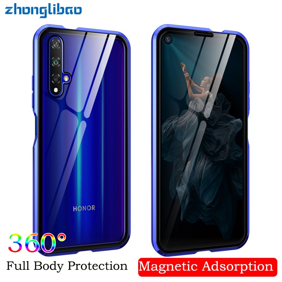 <font><b>360</b></font> Full Coverage Magnetic Adsorption <font><b>Case</b></font> for Huawei P30 <font><b>P20</b></font> Mate 20 Honor 20 Pro Lite 20i V20 Tempered Glass Screen Protector image
