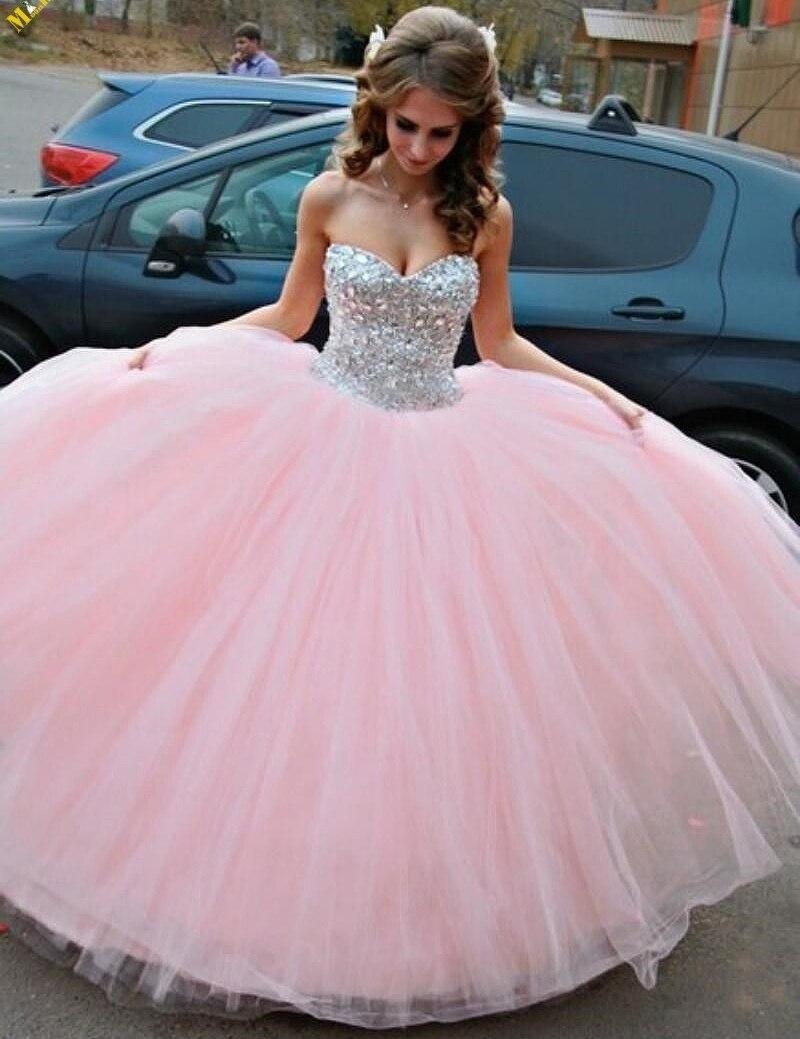 Pink Tulle con cristal vestidos quinceañera 2015 Vestido Debutante ...