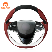 b73b35e04a21ee MEWANT Maroon White Leather Black Suede Hand Sew Car Wrap Steering Wheel  Cover