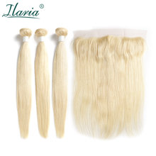 BRAID ILARIA HAIR Brazilian 613 Blonde Hair Bundles With Lace Frontal Closure Straight Blonde Human Hair Weaves With Closure(China)