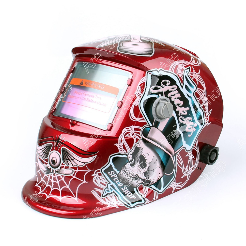 Auto Darkening Welding Helmet Arc Tig Mig Mask Grinding Welder Solar Powered Mask 1Pcs New Arrival Red for Welding Machine new men denim jeans pants scratched patchwork hole beggar trousers fashion straight slim casual vintage mens distressed pants