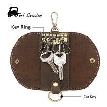 DERI cuzdan Мужская кожа Key Holder модная мужская высокое качество кожа для ключей для автомобиля Винтаж Crazy Horse кожа ключ Кошелек