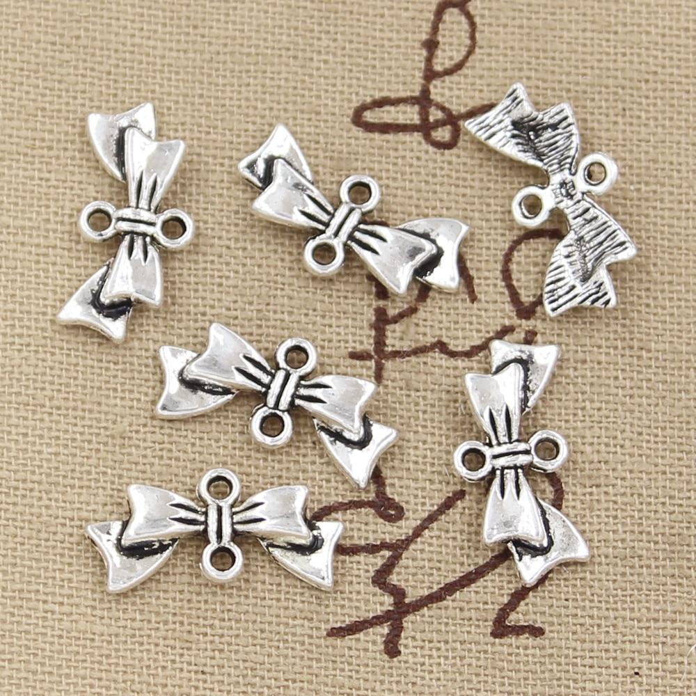 Tie Charm//Pendant Tibetan Antique Silver 29mm  15 Charms Accessory DIY Jewellery
