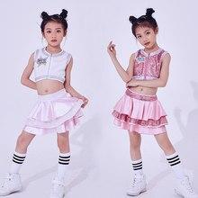 Niños nuevo sin mangas de danza moderna jazz tendencia hip-hop sin mangas  Falda plisada grupo rendimiento danza bcbf6b7c90e