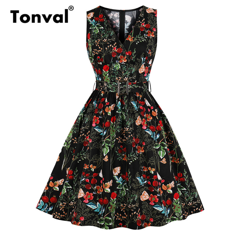 Tonval Multicolor Floral Print Rockabilly Retro Women Clothes Dress V-Neck 95% Cotton Black Vintage Tunic Pleated Dresses(China)