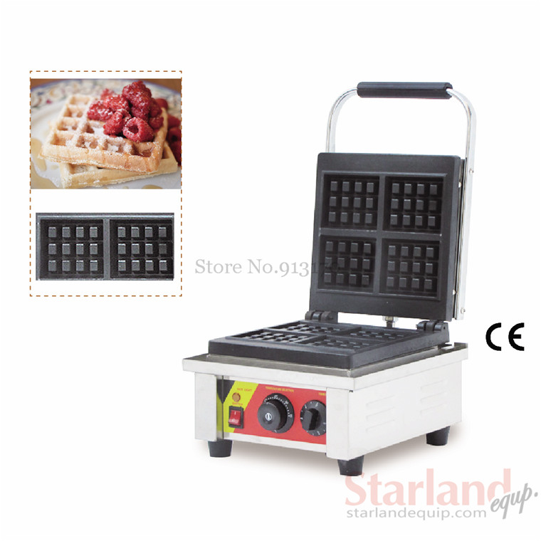 Waffle baker commercial square waffle machine stainless steel rectangle with four pcs moulds Non-Stick Cooking Surface commercial non stick carton bear waffle baker stainless steel waffle machine unique design with 2 pcs molds 220v 110v