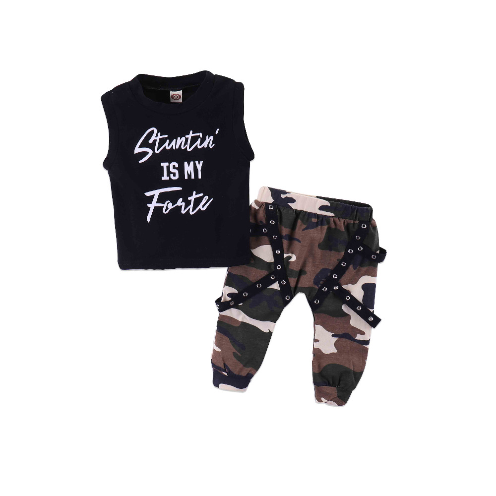 New Summer Baby Boys Clothing Set Sleeveless Vest Top Newborn Outfits Green Camouflage Pants Kids Sport Suits Cotton Active Wear sweet years sy 6187l 22