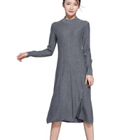 Women Dress 2017 Autumn Winter Cashmere Blending Crew Neck Casual Long Soft Femme Fit And Flare