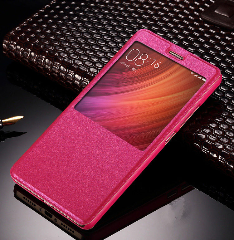 Hot Sale For Xiaomi note 2/Mix Smart flip window leather For Xiaomi redmi 4A 4 4S 4Prime/note 4/Pro cover phone cases with stand