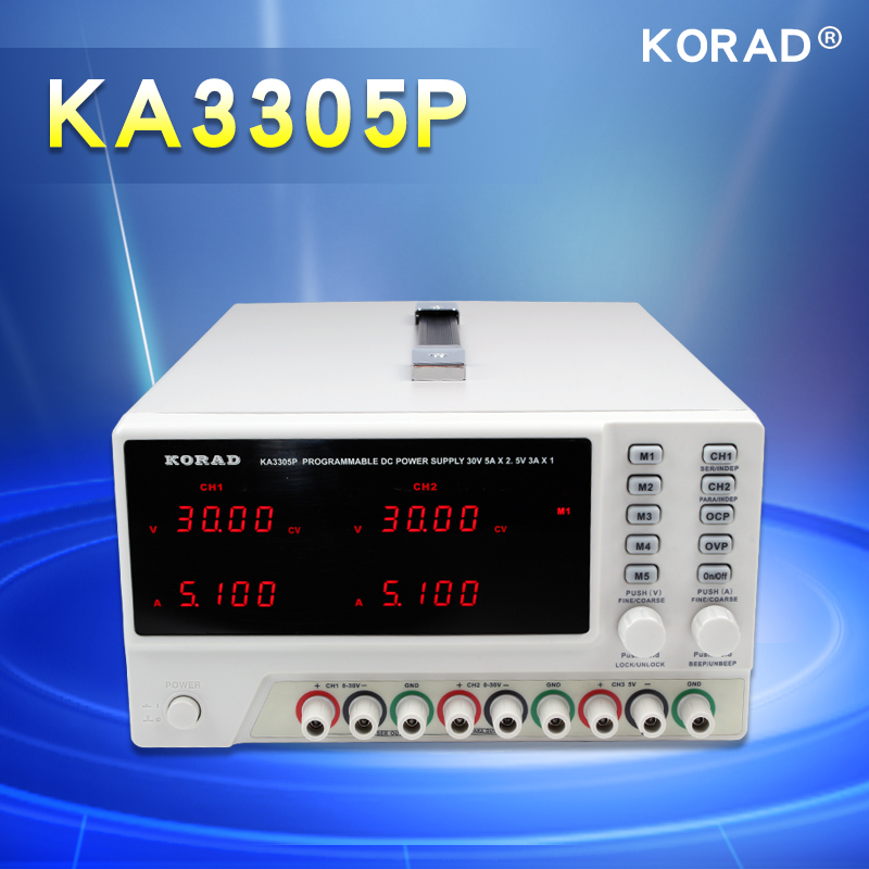 KORAD KA3305P - Programmable Precision Variable Adjustable 30V, 5A DC Triple Linear Power Supply Digital Regulated Lab Grade yh 1502dd 15v 2a adjustable variable dc power supply