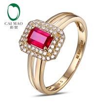 CaiMao 18KT/750 Yellow Gold 0.65 ct Red Ruby & 0.2 ct Round Cut Diamond Engagement Gemstone Ring Jewelry
