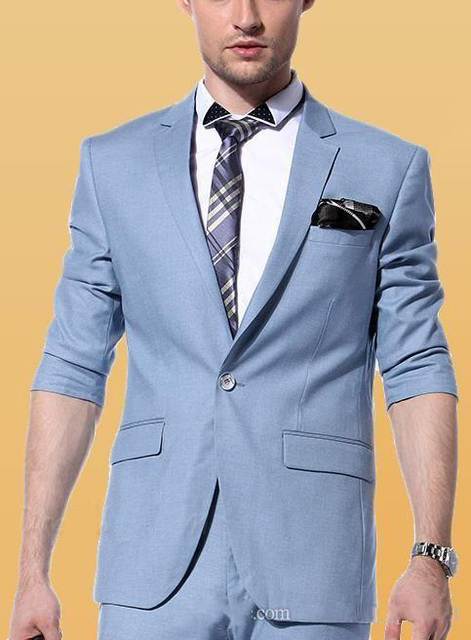 3 pieces Suit Side Vent Sky Blue Groom Tuxedos Notched Lapel One ...