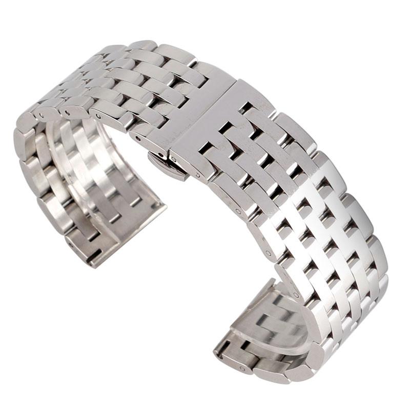 Prix pour 20/22mm Montre Bracelet Homme Bracelet Argent Remplacement En Acier Inoxydable de Haute Qualité Bracelet Solide Lien Bracelet En Métal