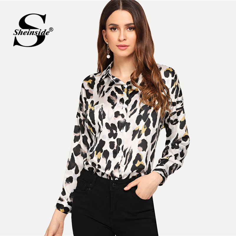 Sheinside Womens Tops And Blouses Asymmetrical Curved Hem Leopard Blouse Women Clothes 2018 Fall Ladies Long Sleeve Blouse Shirt Блузка
