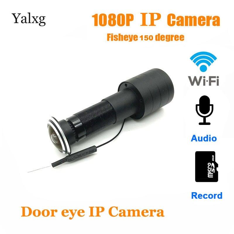 Casa 1080 p wi-fi porta olho buraco mini olho mágico câmera ip fisheye lente de detecção de movimento cam build-in mic tf cartão suportado
