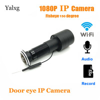 Home 1080P wi fi Door Eye Hole Mini Peephole IP Camera FishEye Lens Motion Detection Cam Build In Mic TF Card Supported