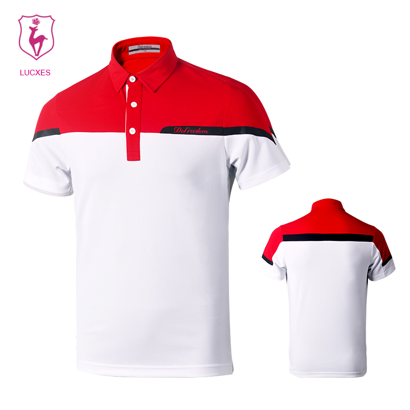 LUCXES In the summer of 2018 the new golf man hygroscopic fast dry golf sports shirt with short sleeves is 3190 .